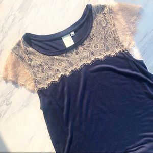 Anthropologie | E by Eloise Eyelash Lace Blue Top